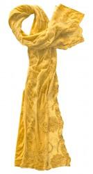 Schal Baumwolle mit besticktem Spitzentüll gelb