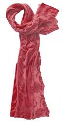 Schal Baumwolle mit besticktem Spitzentüll rosenrot