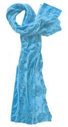 Schal Baumwolle mit besticktem Spitzentüll türkis