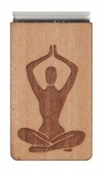 Lesezeichen aus Holz mit Gravur Asana