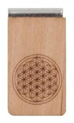 Lesezeichen aus Holz mit Gravur Blume des Lebens