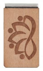 Lesezeichen aus Holz mit Gravur Lotus stilisiert