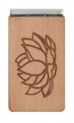 Lesezeichen aus Holz mit Gravur Lotusblume Blätter
