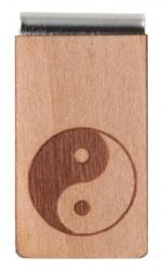Lesezeichen aus Holz mit Gravur Yin & Yang