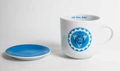 Chakra-Tasse aus Porzellan mit Unterteller Hals-Chakra