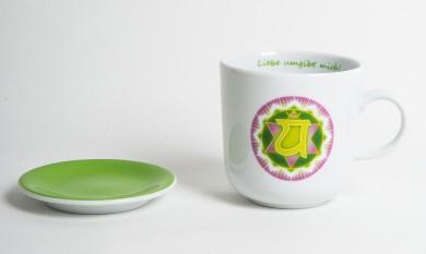 Chakra-Tasse aus Porzellan mit Unterteller Herz-Chakra