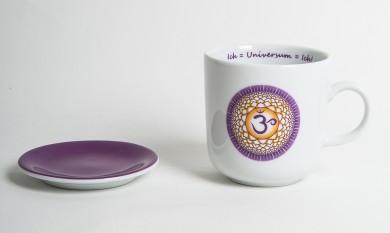 Chakra-Tasse aus Porzellan mit Unterteller Kronen-Chakra