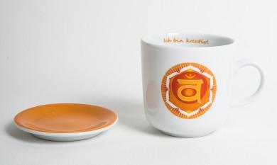 Chakra-Tasse aus Porzellan mit Unterteller Sakral-Chakra