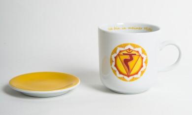 Chakra-Tasse aus Porzellan mit Unterteller Solarplexus-Chakra