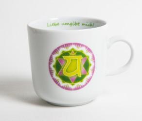 Chakra-Tasse aus Porzellan Herz-Chakra