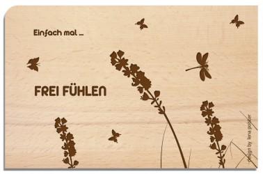 Postkarte aus Holz Frei