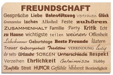 Postkarte aus Holz Freundschaft