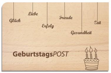 Postkarte aus Holz Geburtstagspost