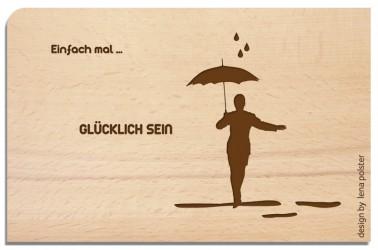Postkarte aus Holz Glücklich