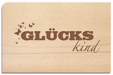 Postkarte aus Holz Glückskind