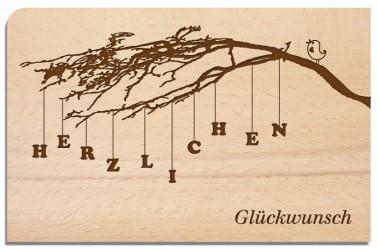 Postkarte aus Holz Herzlichen Glückwunsch