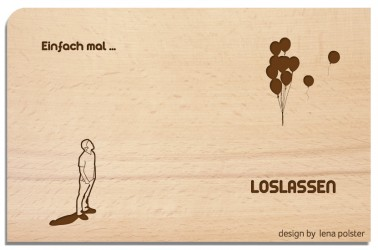 Postkarte aus Holz Loslassen