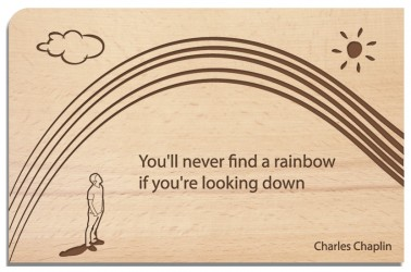 Postkarte aus Holz Rainbow