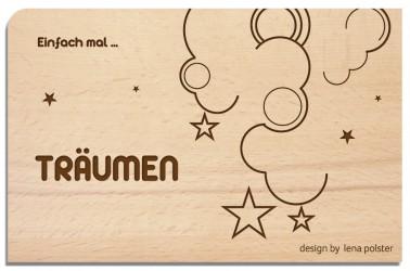 Postkarte aus Holz Träumen