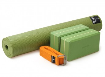 Yoga-Set Kick-It - Two (Yoga mat + 2x yoga block + yoga belt) grass