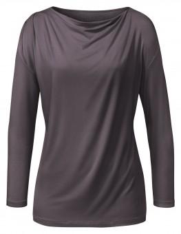 Yoga-Shirt Wasserfall 3/4 - aubergine