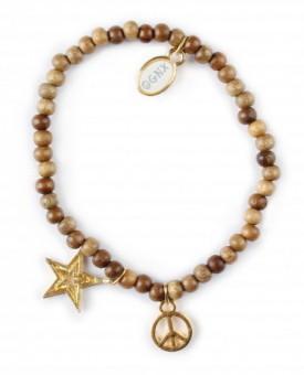 "Holz Armband ""Stern"" (Peace Gold)"