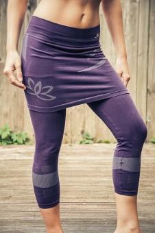 Capri-Hose mit integriertem Rock - purple XS/S