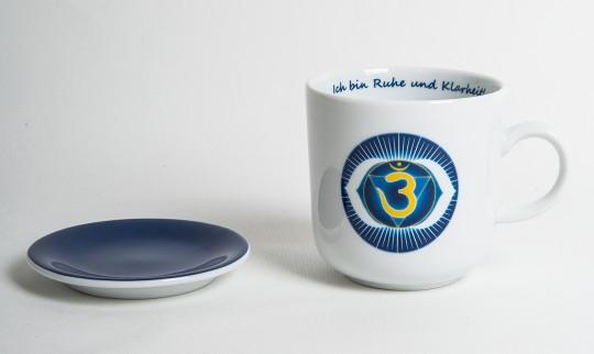 Chakra-Tasse aus Porzellan mit Unterteller Stirn-Chakra