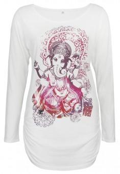 "Langarm-Shirt deluxe ""Groovy Ganesha"", weiß M"