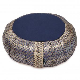 Meditationskissen rund pleated - golden mind - midnight blue