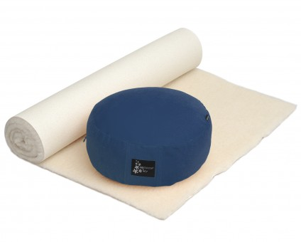 Yoga-Set Comfort Edition - Meditation natur 100 x 200 cm dunkelblau