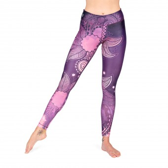 Yoga-Leggings - Purple Blossom