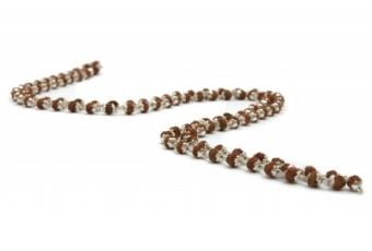 Rudraksha Mala-Kette mit Silberkäppchen