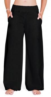 Schazad-Leinenhose mit Gummiband - schwarz L
