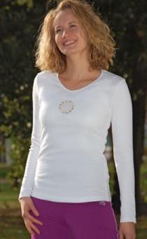 Shirt Langarm, Blume des Lebens - weiß