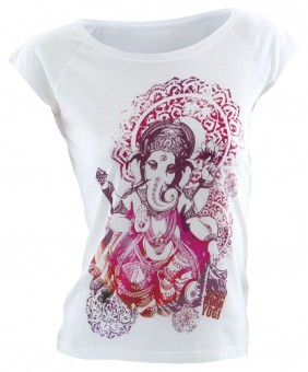 """T-Shirt """"Groovy Ganesha"""", weiß M"""