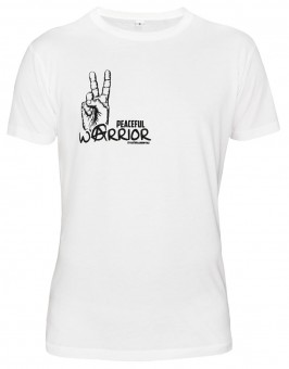 "T-Shirt ""Peaceful Warrior"", weiß"