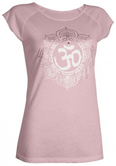 "Yoga T-Shirt ""Pigment dyed OM"" - winter rose L"
