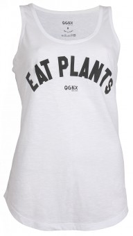 "Yoga Tank-Top ""Eat Plants"" - white"