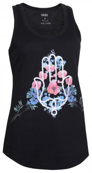 "Yoga Tank-Top ""Hamsa Flower"" - black L"