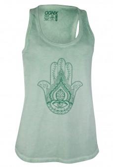 Yoga-Tank-Top - pigment dyed Hamsa - mint green