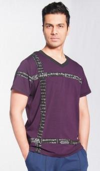 """T-Shirt mit V-Ausschnitt """"Calm"""", men - violet"""