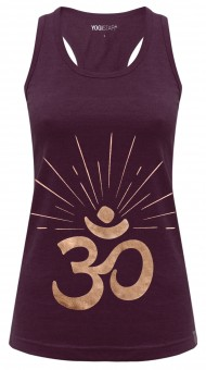 "Yoga-Racerback-Top ""OM sunray"" - berry/copper"