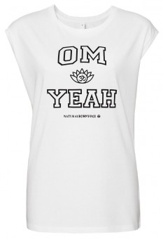 "Yoga-Top ""OM YEAH"", weiss L"