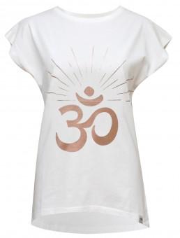 "Yoga-T-Shirt Batwing ""OM sunray"" - ivory/copper M"