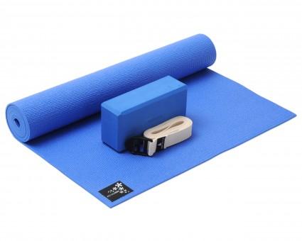 Yoga-Set Kick-It - One (Yoga mat + yoga block + yoga belt) ocean blue