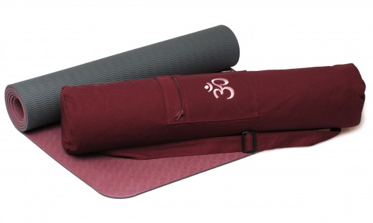 Yoga-Set Starter Edition - comfort (Yogamatte pro + Yogatasche OM) bordeaux/anthrazit