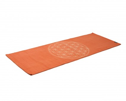 Yogateppich cotton rug - flower of life - mocca/cream