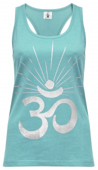 "Yoga-Racerback-Top ""OM sunray"" - mint/silver"