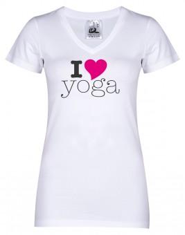 "Yogi-T-Shirt ""I love yoga"" - weiß L"